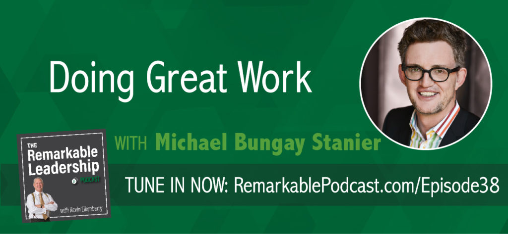 Great work has both impact and meaning, per Michael Bungay Stanier. Michael is the author of The Coaching Habit and Do More Great Work. He is also the founder and Senior Partner of Box of Crayons, a company that helps organizations all over the world do less Good Work and more Great Work. Michael and Kevin discuss the concept and core attributes of great work. Further, how a leader needs to be a catalyst for their team and ways to move the team towards more great work.