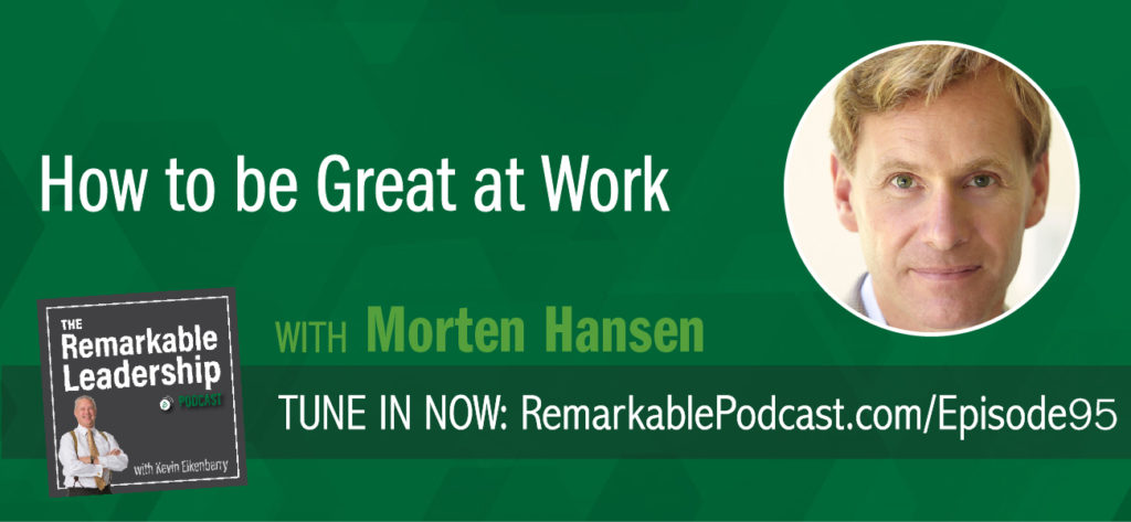 Focus will get you to average. Top performers not only focus but obsess over a few things according to Morten Hansen. Morten is the author of Great at Work: How Top Performers Do Less, Work Better, and Achieve More and joins Kevin to discuss his research on the practices of top leaders. Based on data collected from surveys, case studies and a few years of statistical analysis, Morten defines practices of top performers (including a practice that was surprising). These can be applied by any leader looking to maximize their time and performance.