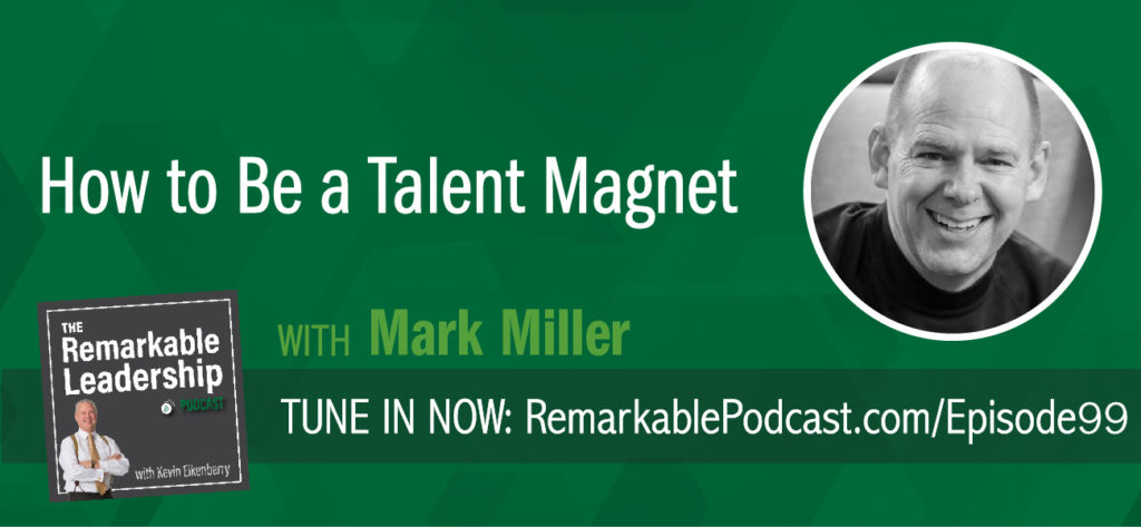 "Mark Miller is the Vice President of High Performance Leadership at Chick-fil-A Inc. or ""The Chicken"", as he affectionaly refers to it. He is also a best selling author, by accident according to Mark, and joins Kevin to discuss top talent. He recently released Talent Magnet: How To Attract And Keep The Best People. In discussions with organizational leaders, Mark found that finding and keeping good people had become the number one issue. Through not only qualitative data, but based on extensive research Mark conducted with Aon, he discovered that what keeps and attracts top talent is different than what attracts and keeps typical talent."