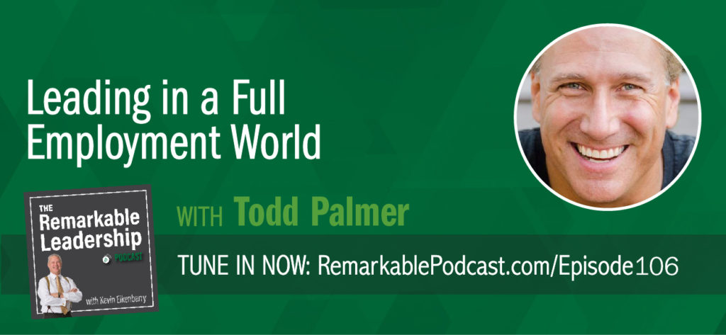 Statistics show that we spend more time with the people we work with than we do with our family. Todd Palmer, CEO of Extraordinary Advisors and author of The Job Search Process: Find & Land a Great Job in 6 Weeks or Less, discusses servant leadership and taking care of those that take care of you. He tells Kevin that there are fewer people working than 40 years ago, yet not enough people for jobs. Leaders need to be thinking about their talent search and the opportunities their companies offer. Todd also offers a bonus to listeners of the Remarkable Leadership Podcast