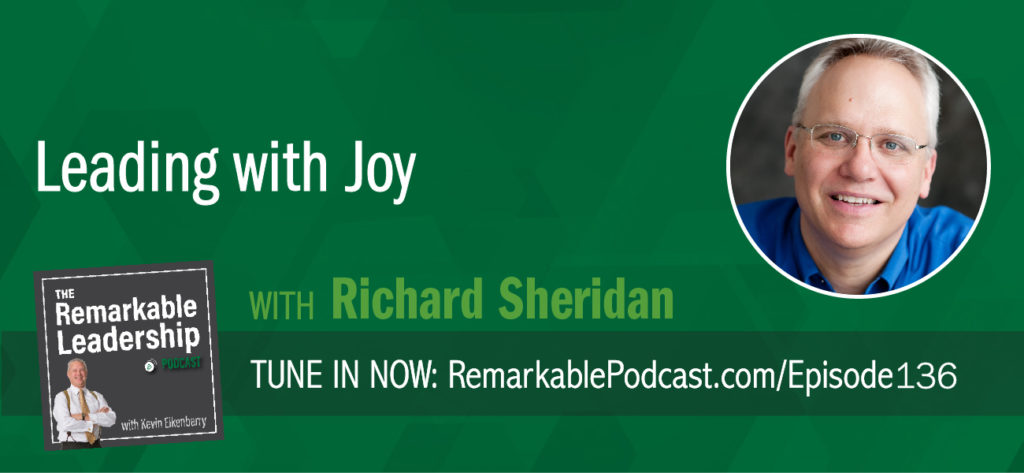 """What difference does JOY make in the workplace and how can you find JOY in leading others? Richard Sheridan joins Kevin to discuss how a joyful culture can bring about business results. He is the CEO and co-founder of Menlo Innovations and author of Joy, Inc.: How We Built a Workplace People Love and his latest book, Chief Joy Officer: How Great Leaders Elevate Human Energy and Eliminate Fear. Richard recognizes that leadership occurs at every level within an organization and challenges us to become a better version each day. Further, the people we are leading need to know we are real and we support their growth through our vulnerability.  Richard also says that if you are in the Ann Arbor area and want a tour, just reach out."""