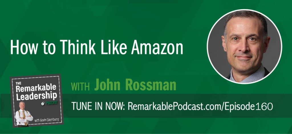 "John Rossman is a former Amazon executive, who launched and scaled the Marketplace business, which now accounts for more than 50 percent of all units sold at Amazon.com. In his current role, he is often asked ""How did Amazon do this?"" or ""Why did Amazon do it this way?"" As such he decided to write, Think Like Amazon: 50 ½ Ideas to Become a Digital Leader. John and Kevin discuss the book and he draws upon his experience at Amazon to show you how you can think differently about business and leadership to move your organization forward. John expands on a few ideas in the book, including the fact that the question is just as, if not more important, than the solution."