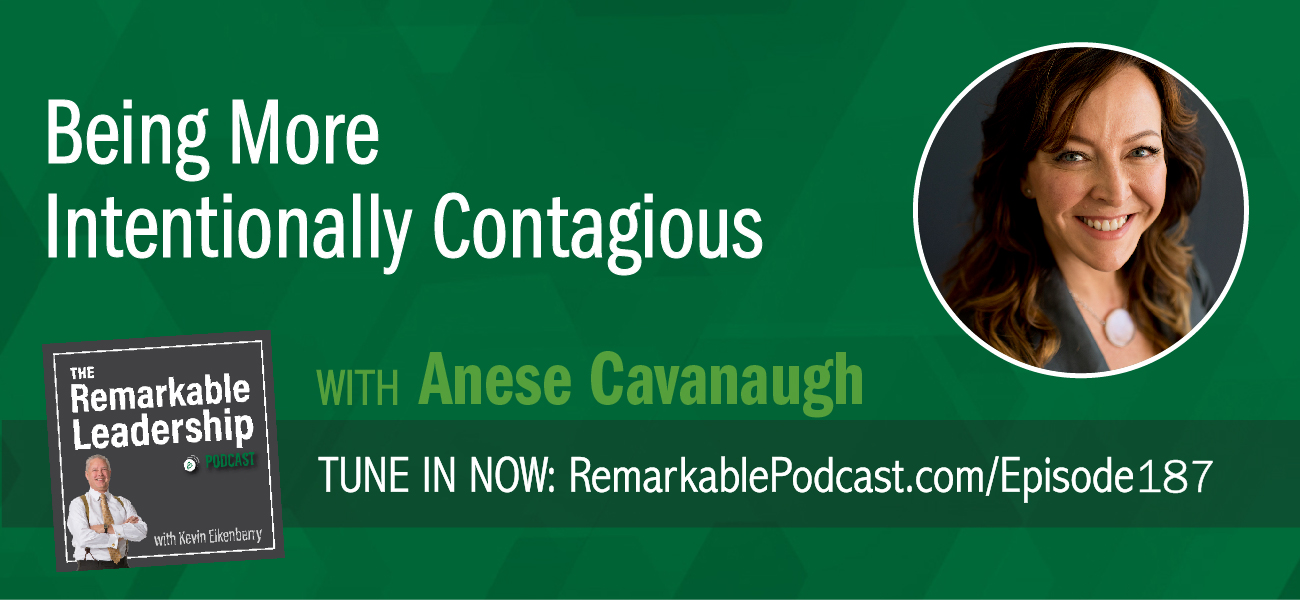 "How do you show up for work? For home? Anese Cavanaugh believes we have the choice of how we show up, so we have the power. She is the creator of the IEP Method® (Intentional Energetic Presence®), and author of CONTAGIOUS CULTURE: Show Up, Set the Tone, and Intentionally Create an Organization That Thrives. Anese and Kevin talk about the leadership assets that are as important if not more so than the ""hard skills."" These include intentions, energy, presence, self-care, and service mindset. When you have awareness of your leadership presence, you increase your credibility and the power to influence others."