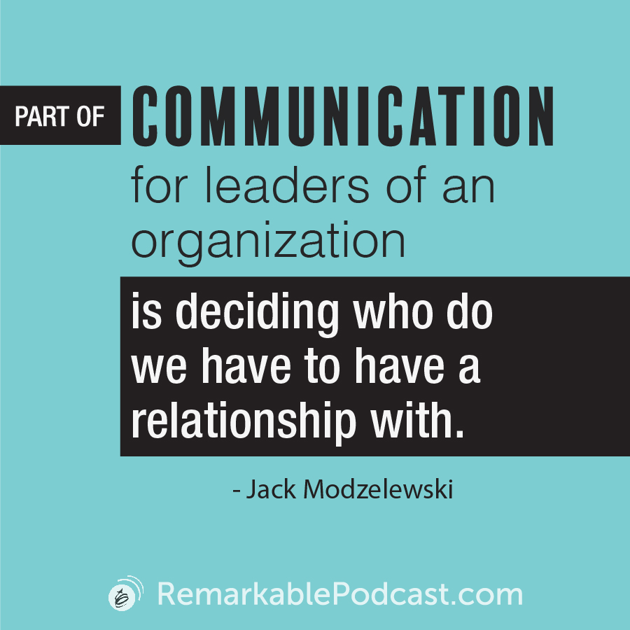 Quote Image: Part of communication for leaders of an organization is deciding who do we have to have a relationship with.
